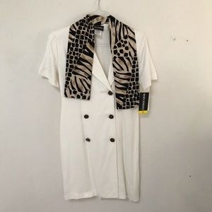 John Roberts Coat Dress with Scarf, size 6